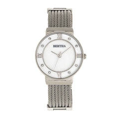 Bertha Dawn Mother-of-Pearl Cable Bracelet Watch - Silver