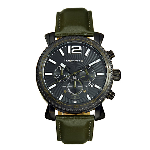 Morphic M89 Series Chronograph Leather-Band Watch w/Date - Olive/Black MPH8905