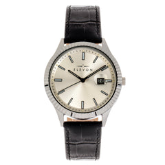Elevon Concorde Leather-Band Watch w/Date - Silver