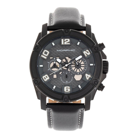 Morphic M73 Series Chronograph Leather-Band Watch - Black MPH7306