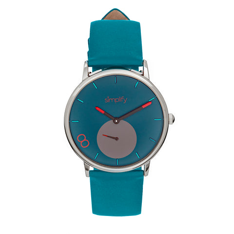 Simplify The 7200 Leather-Band Watch - Teal SIM7205