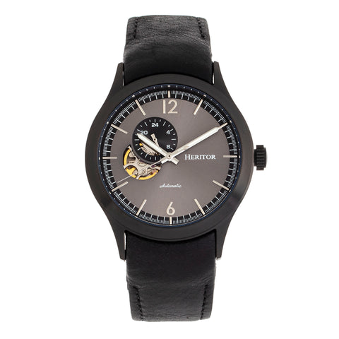 Heritor Automatic Antoine Semi-Skeleton Leather-Band Watch - Black/Charcoal HERHR8508