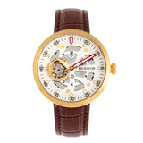 Heritor Automatic Jasper Skeleton Leather-Band Watch - Gold/White HERHR8706