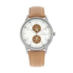 Elevon Turbine Leather-Band Watch - Silver/Khaki