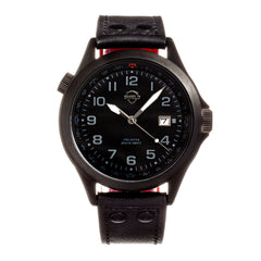 Shield Palau Leather-Band Men's Diver Watch w/Date - Black SLDSH104-6