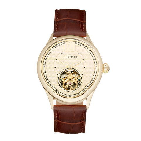 Heritor Automatic Hayward Semi-Skeleton Leather-Band Watch - Gold HERHR9405