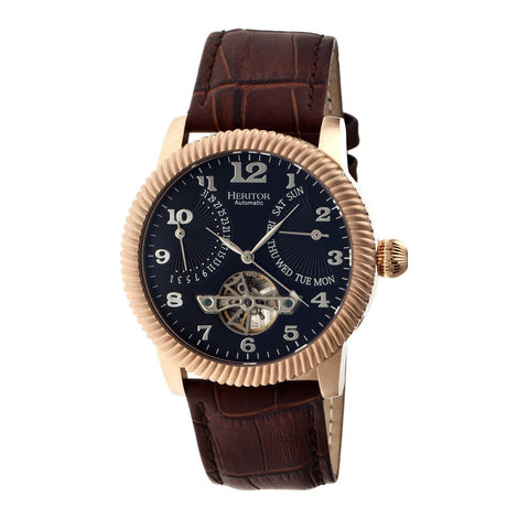 Heritor Automatic Piccard Semi-Skeleton Leather-Band Watch - Rose Gold/Black HERHR2006