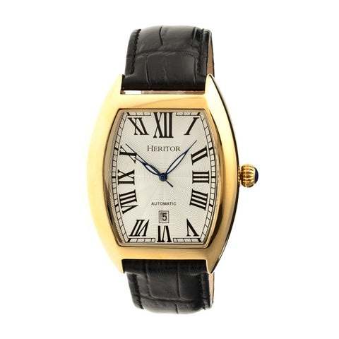 Heritor Automatic Redmond Leather-Band Watch w/Date - Gold/Silver HERHR2203
