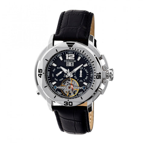 Heritor Automatic Lennon Semi-Skeleton Leather-Band Watch - Silver/Black HERHR2802