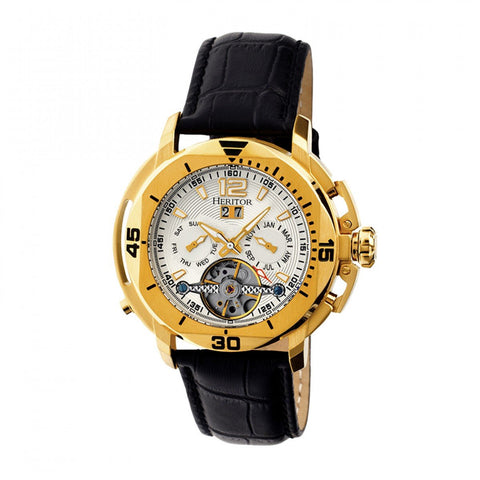 Heritor Automatic Lennon Semi-Skeleton Leather-Band Watch - Gold/Silver HERHR2803