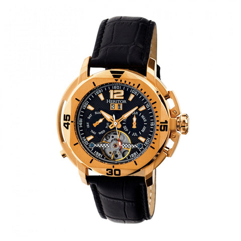 Heritor Automatic Lennon Semi-Skeleton Leather-Band Watch - Rose Gold/Black HERHR2806