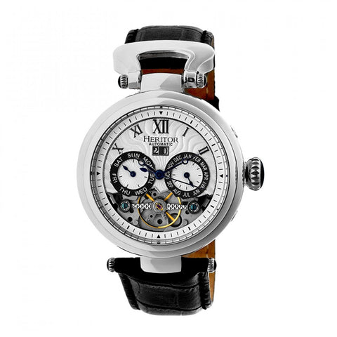 Heritor Automatic Ganzi Semi-Skeleton Leather-Band Watch - Silver HERHR3301