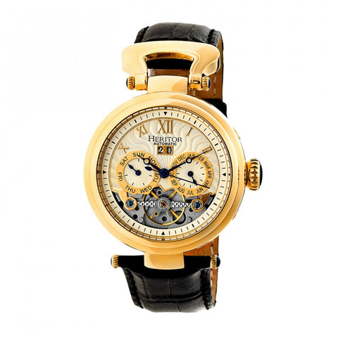 Heritor Automatic Ganzi Semi-Skeleton Leather-Band Watch - Gold/Silver HERHR3303