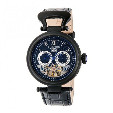 Heritor Automatic Ganzi Semi-Skeleton Leather-Band Watch - Black HERHR3307