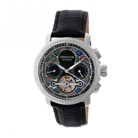 Heritor Automatic Aura Men's Semi-Skeleton Leather-Band Watch - Silver/Black HERHR3501
