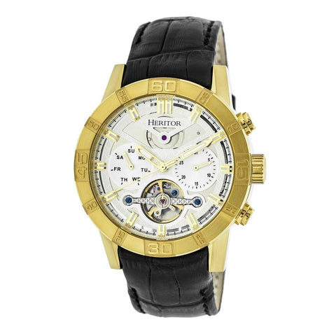 Heritor Automatic Hannibal Semi-Skeleton Leather-Band Watch - Gold/Silver HERHR4103