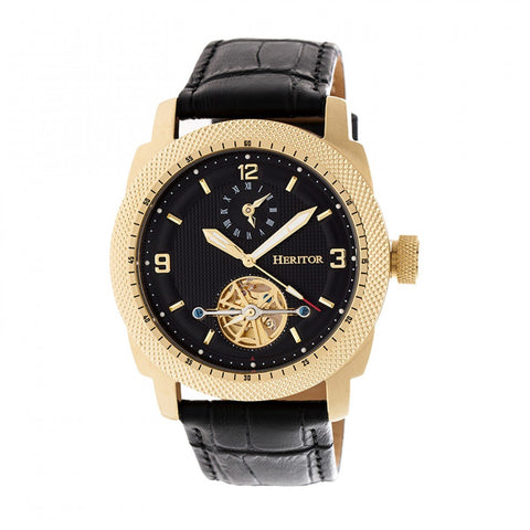 Heritor Automatic Helmsley Semi-Skeleton Leather-Band Watch - Gold/Black HERHR5007