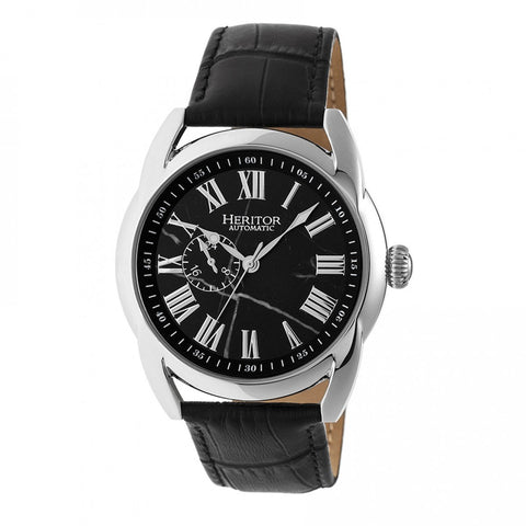 Heritor Automatic Marcus Marbled-Dial Leather-Band Watch - Silver/Black HERHR5902