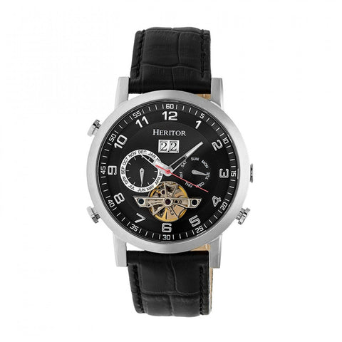 Heritor Automatic Edmond Leather-Band Watch w/Date - Silver/Black HERHR6202