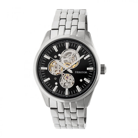 Heritor Automatic Stanley Semi-Skeleton Bracelet Watch - Silver/Black HERHR6502