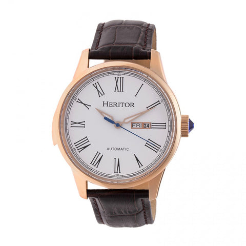 Heritor Automatic Prescott Leather-Band Watch w/ Day/Date - Rose Gold/White HERHR6704