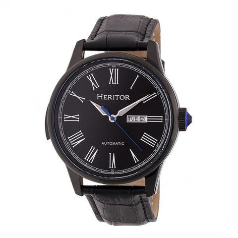 Heritor Automatic Prescott Leather-Band Watch w/ Day/Date - Black HERHR6706