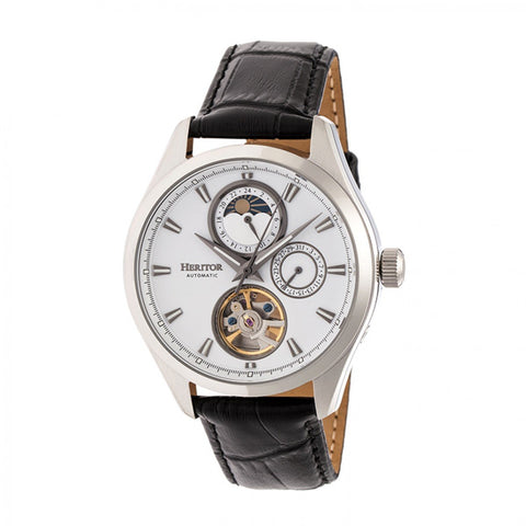 Heritor Automatic Sebastian Semi-Skeleton Leather-Band Watch- Silver HERHR6901