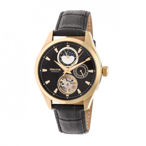 Heritor Automatic Sebastian Semi-Skeleton Leather-Band Watch- Gold/Black HERHR6903