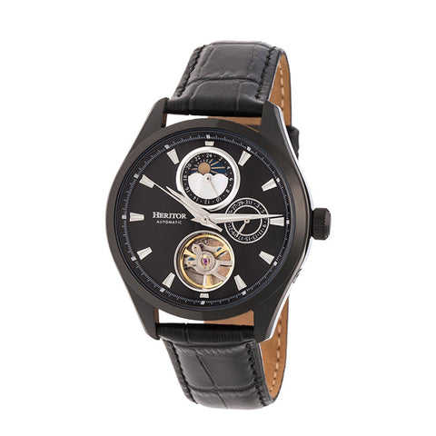 Heritor Automatic Sebastian Semi-Skeleton Leather-Band Watch- Black HERHR6905