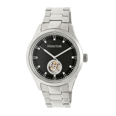 Heritor Automatic Crew Semi-Skeleton Bracelet Watch - Silver/Black HERHR7002