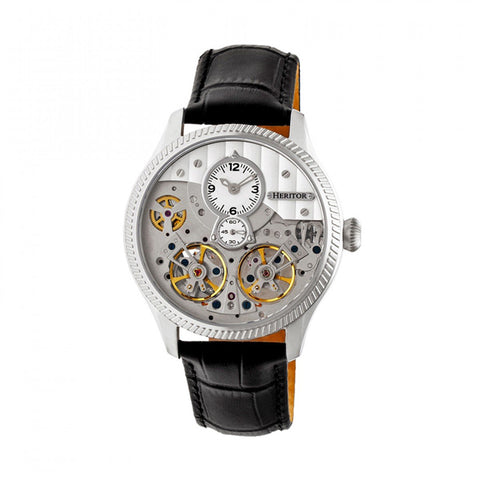 Heritor Automatic Winthrop Leather-Band Skeleton Watch - Silver HERHR7301