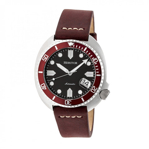 Heritor Automatic Morrison Leather-Band Watch w/Date - Maroon/Silver HERHR7604