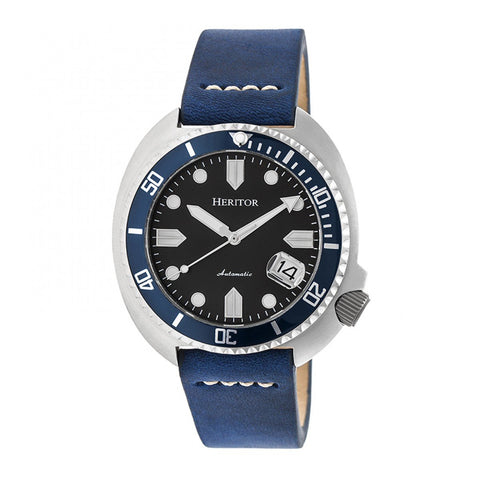 Heritor Automatic Morrison Leather-Band Watch w/Date - Blue/Silver HERHR7605