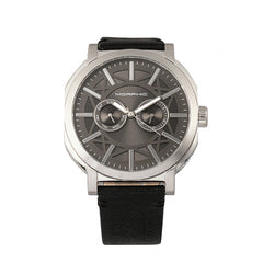 Morphic M62 Series Leather-Band Watch w/Day/Date - Silver/Black