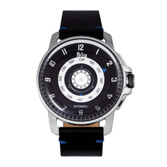 Reign Monarch Automatic Domed Sapphire Crystal Leather-Band Watch - Silver/Black