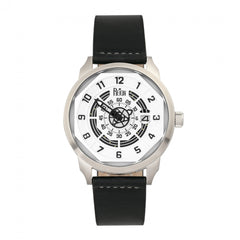 Reign Lafleur Automatic Leather-Band Watch w/Date - Silver