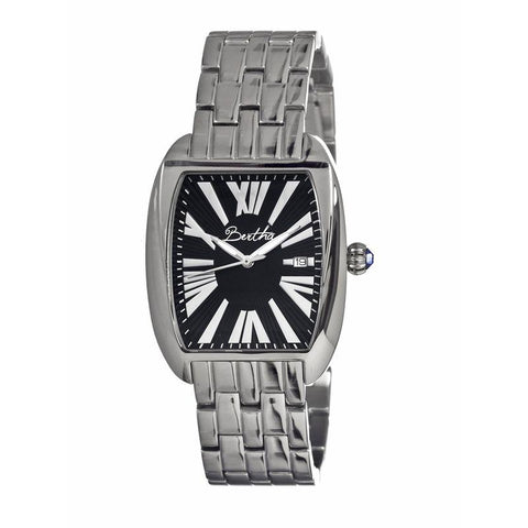 Bertha Anastasia Ladies Bracelet Watch w/Date - Silver/Black BTHBR1302