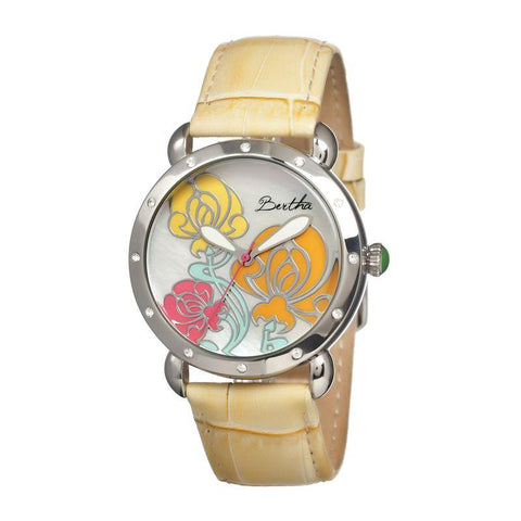 Bertha Josephine MOP Leather-Band Ladies Watch - Silver/Yellow BTHBR1504