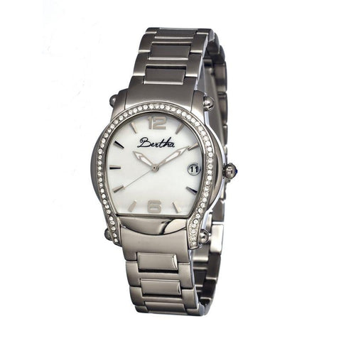 Bertha Fiona MOP Ladies Bracelet Watch w/ Date - Silver/White BTHBR2901