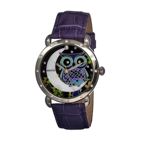 Bertha Ashley MOP Leather-Band Ladies Watch - Silver/Purple BTHBR3002
