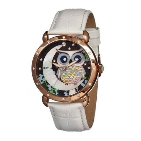 Bertha Ashley MOP Leather-Band Ladies Watch - Rose Gold/White BTHBR3004