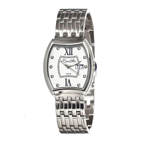Bertha Charlotte Ladies Swiss Bracelet Watch - Silver/White BTHBR3101