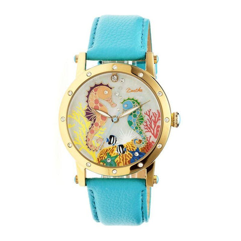 Bertha Morgan MOP Leather-Band Ladies Watch - Gold/Turquoise BTHBR4203