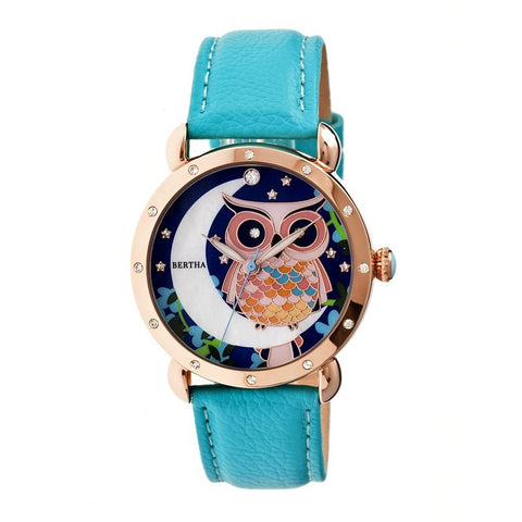 Bertha Ashley MOP Leather-Band Ladies Watch - Rose Gold/Turquoise BTHBR3007