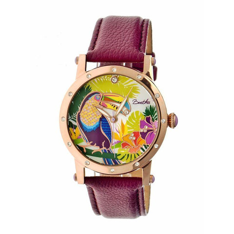 Bertha Gisele MOP Leather-Band Ladies Watch - Rose Gold/Plum BTHBR4404