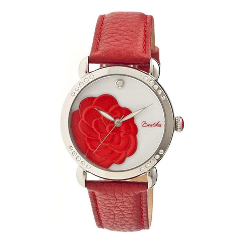 Bertha Daphne MOP Leather-Band Ladies Watch - Red/White BTHBR4604