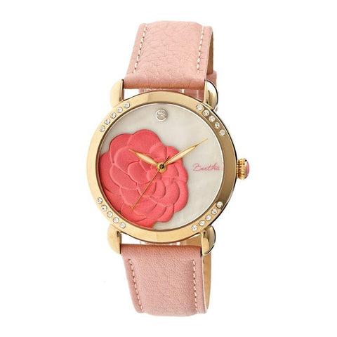 Bertha Daphne MOP Leather-Band Ladies Watch - Light Pink/White BTHBR4605