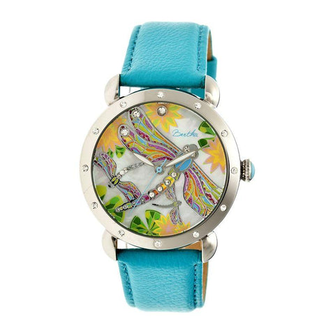 Bertha Jennifer MOP Leather-Band Ladies Watch - Silver/Turquoise BTHBR5001