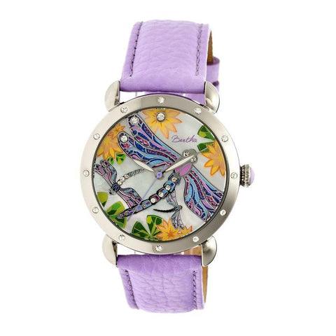 Bertha Jennifer MOP Leather-Band Ladies Watch - Silver/Lavender BTHBR5002