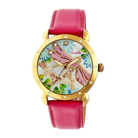 Bertha Jennifer MOP Leather-Band Ladies Watch - Gold/Pink BTHBR5004